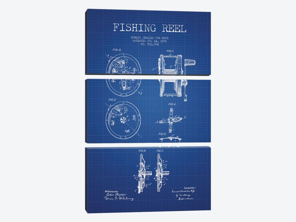 E.C. Vom Hofe Fishing Reel Patent Sketch (Blue Grid) by Aged Pixel 3-piece Canvas Art