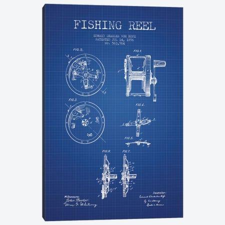 E.C. Vom Hofe Fishing Reel Patent Sketch (Blue Grid) Canvas Print #ADP2832} by Aged Pixel Art Print