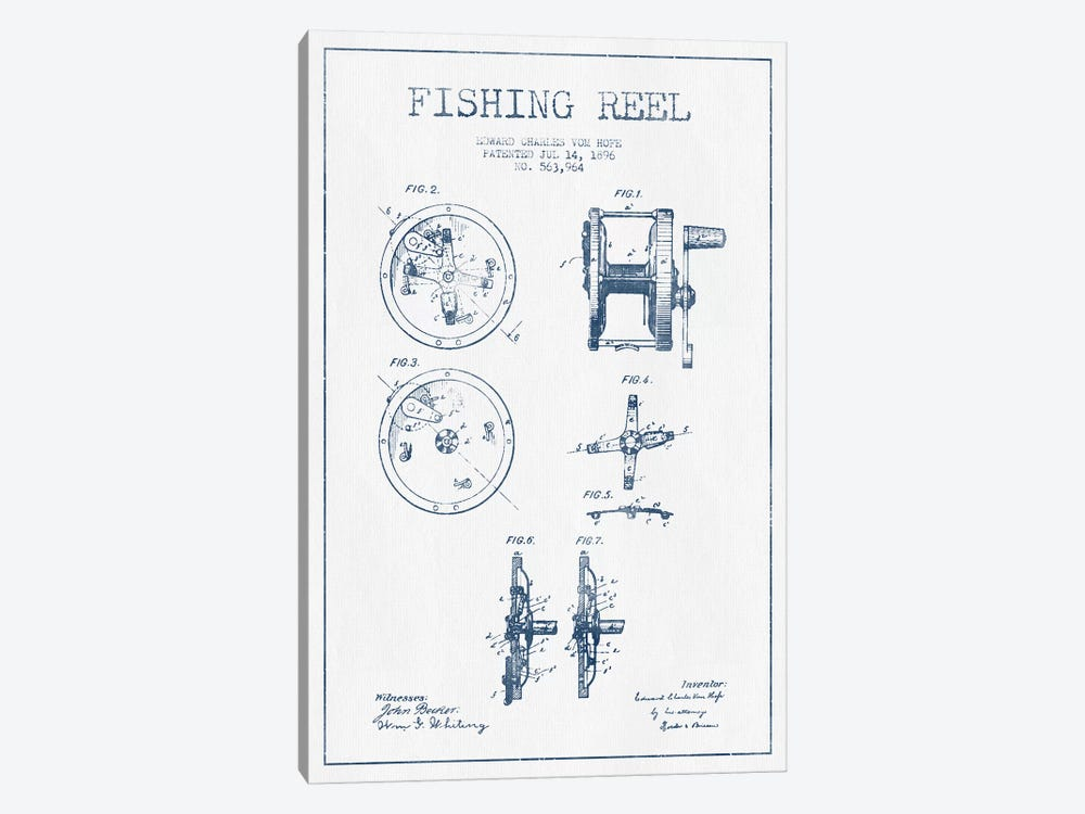 E.C. Vom Hofe Fishing Reel Patent Sketch (Ink) by Aged Pixel 1-piece Art Print