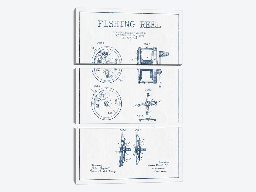 E.C. Vom Hofe Fishing Reel Patent Sketch (Ink) by Aged Pixel 3-piece Canvas Art Print