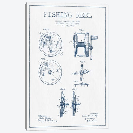 E.C. Vom Hofe Fishing Reel Patent Sketch (Ink) Canvas Print #ADP2833} by Aged Pixel Canvas Art Print