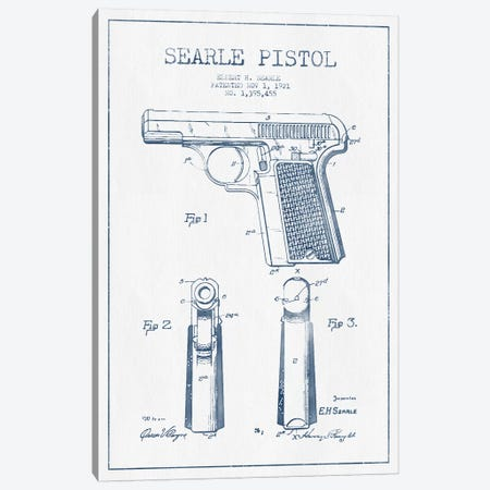 E.H. Searle Searle Pistol Patent Sketch (Ink) Canvas Print #ADP2834} by Aged Pixel Canvas Wall Art
