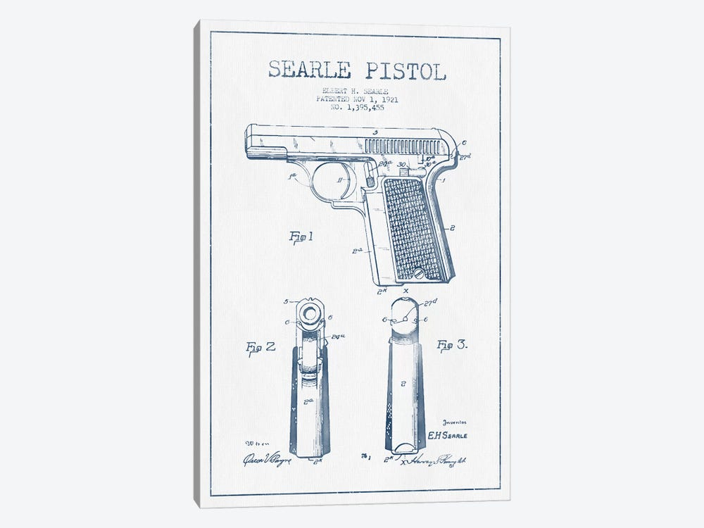 E.H. Searle Searle Pistol Patent Sketch (Ink) by Aged Pixel 1-piece Canvas Wall Art