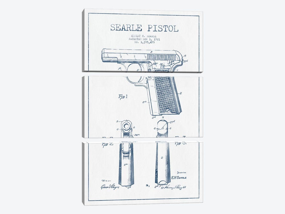 E.H. Searle Searle Pistol Patent Sketch (Ink) by Aged Pixel 3-piece Canvas Artwork
