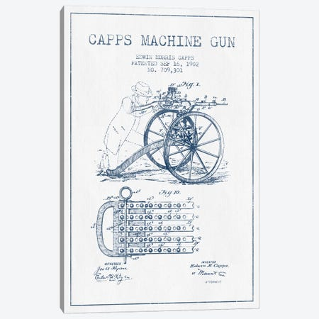 E.M. Capps Machine Gun Patent Sketch (Ink) I Canvas Print #ADP2836} by Aged Pixel Canvas Wall Art