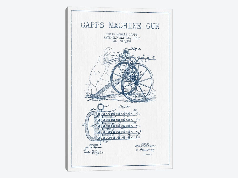 E.M. Capps Machine Gun Patent Sketch (Ink) I by Aged Pixel 1-piece Canvas Artwork