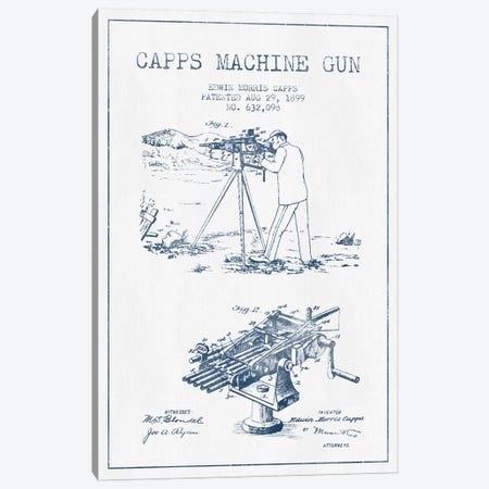 E.M. Capps Machine Gun Patent Sketch (Ink) II Canvas Print #ADP2837} by Aged Pixel Canvas Art