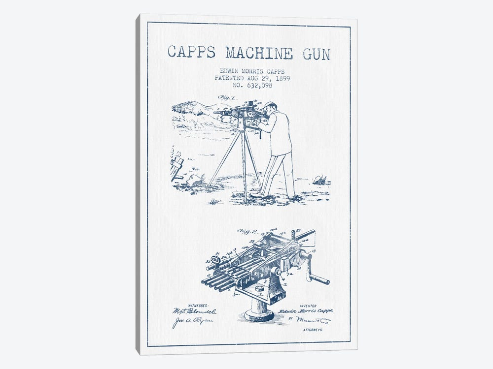 E.M. Capps Machine Gun Patent Sketch (Ink) II by Aged Pixel 1-piece Art Print