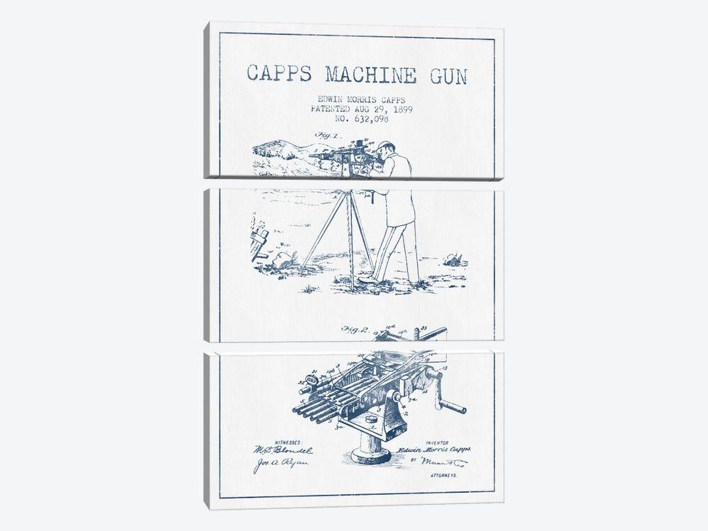 E.M. Capps Machine Gun Patent Sketch (Ink) II by Aged Pixel 3-piece Canvas Print