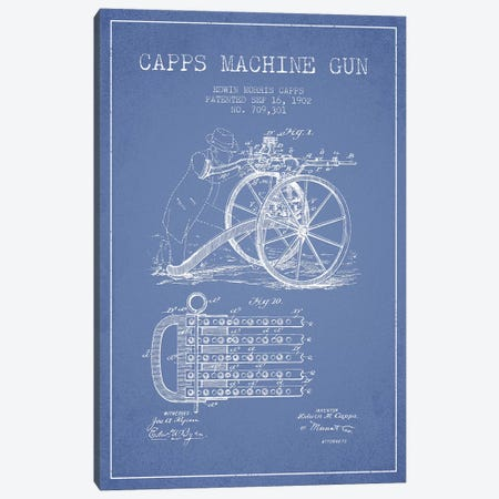 E.M. Capps Machine Gun Patent Sketch (Light Blue) I Canvas Print #ADP2838} by Aged Pixel Canvas Art Print