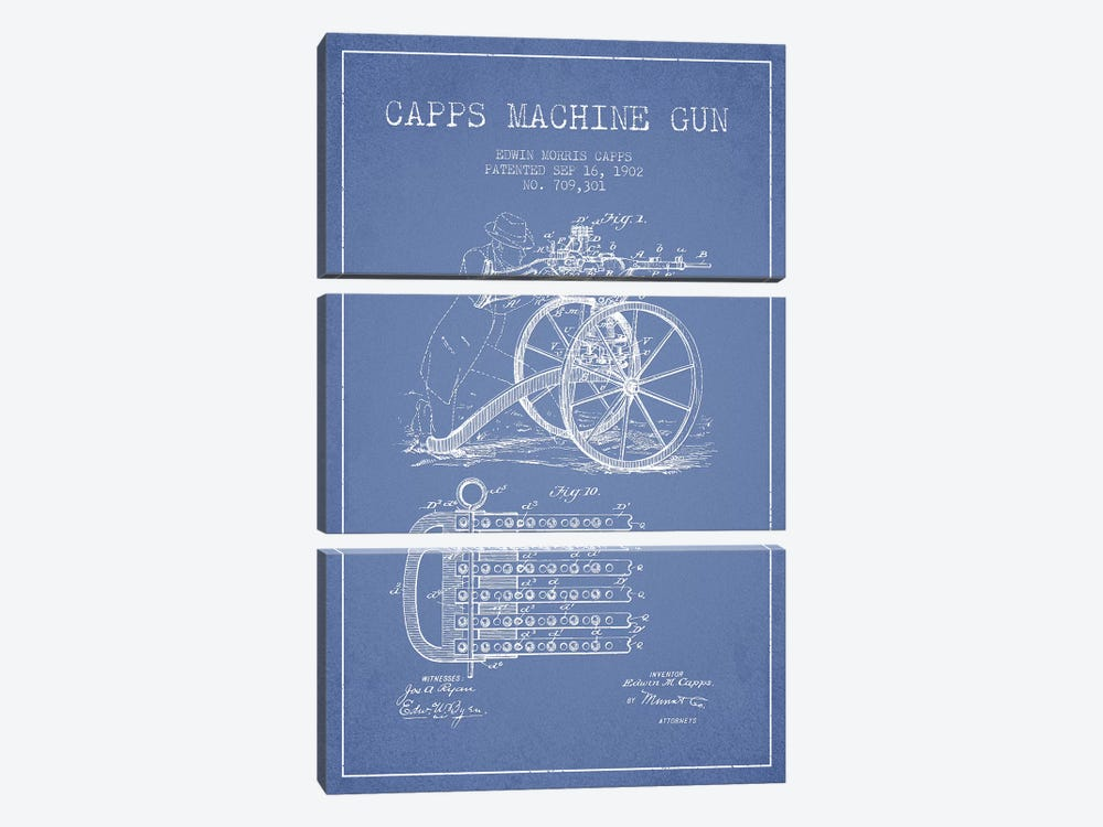 E.M. Capps Machine Gun Patent Sketch (Light Blue) I by Aged Pixel 3-piece Canvas Artwork