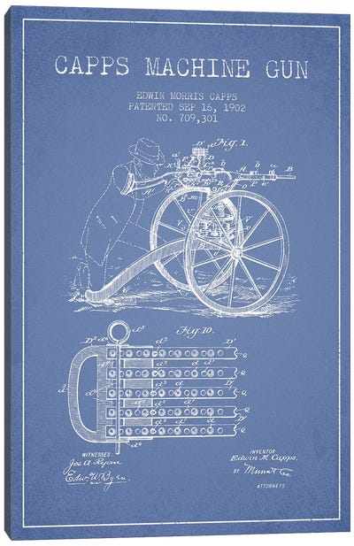 E.M. Capps Machine Gun Patent Sketch (Light Blue) I Canvas Art Print