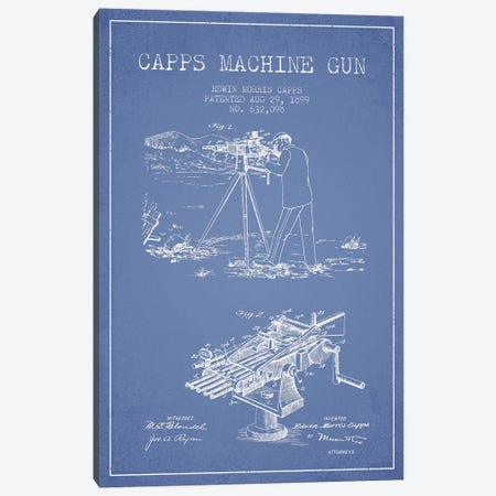 E.M. Capps Machine Gun Patent Sketch (Light Blue) II Canvas Print #ADP2839} by Aged Pixel Art Print