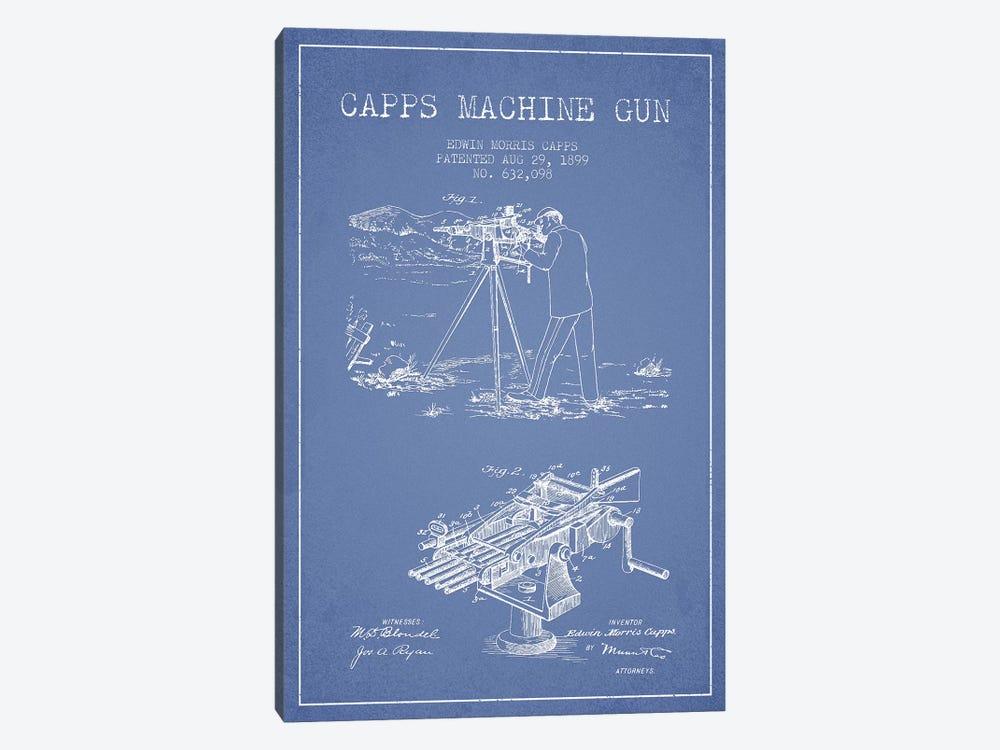 E.M. Capps Machine Gun Patent Sketch (Light Blue) II by Aged Pixel 1-piece Canvas Art Print