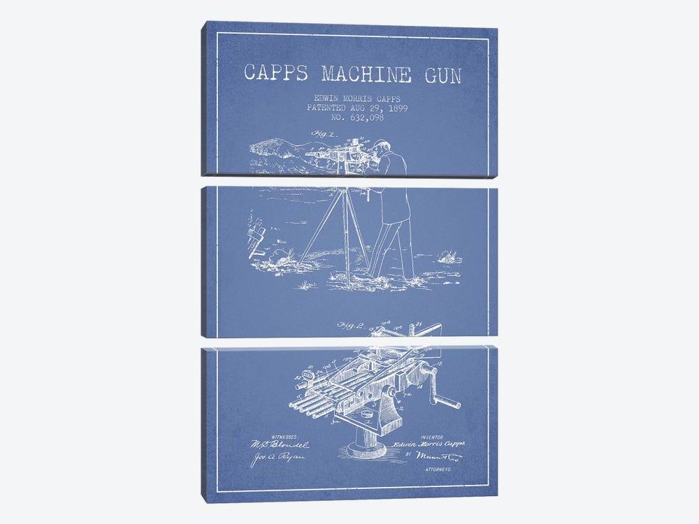 E.M. Capps Machine Gun Patent Sketch (Light Blue) II by Aged Pixel 3-piece Art Print