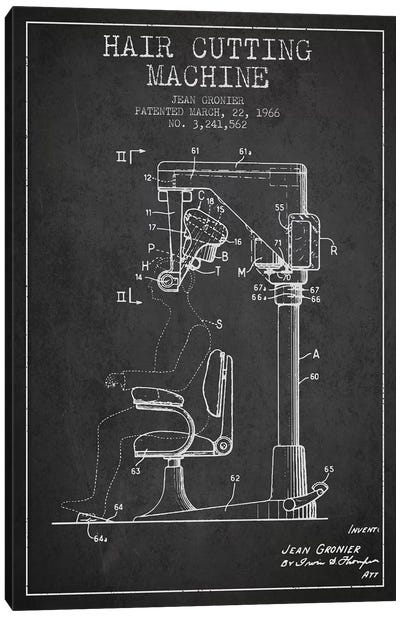 Automatic Heir Cutting Charcoal Patent Blueprint Canvas Art Print
