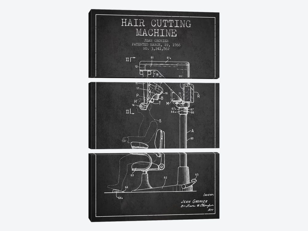 Automatic Heir Cutting Charcoal Patent Blueprint by Aged Pixel 3-piece Canvas Art Print