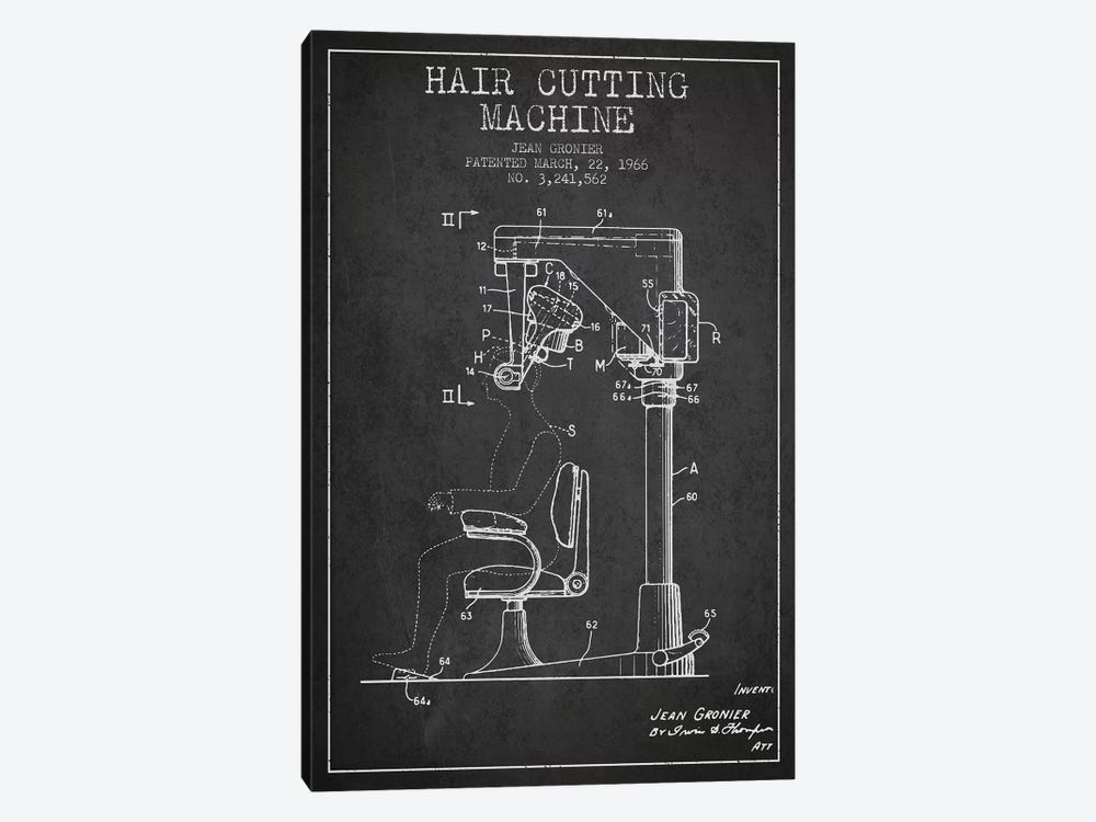 Automatic Heir Cutting Charcoal Patent Blueprint by Aged Pixel 1-piece Canvas Print