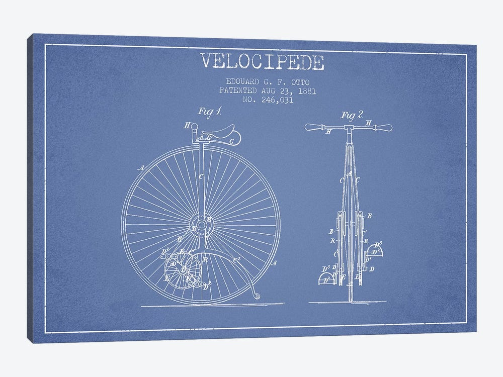 Edouard G.F. Otto Velocipede Patent Sketch (Light Blue) I by Aged Pixel 1-piece Canvas Art Print
