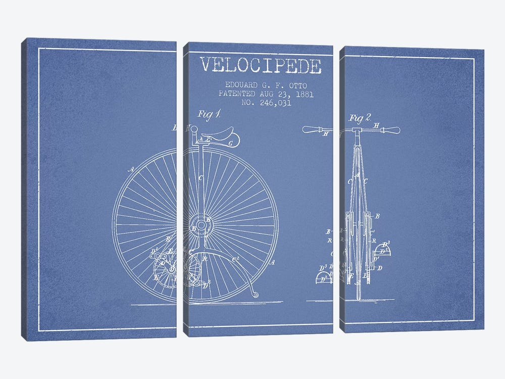 Edouard G.F. Otto Velocipede Patent Sketch (Light Blue) I by Aged Pixel 3-piece Canvas Print