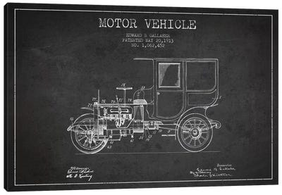Edward B. Gallaher Motor Vehicle Patent Sketch (Charcoal) Canvas Art Print