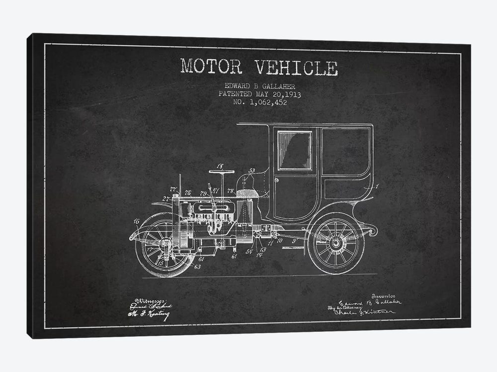 Edward B. Gallaher Motor Vehicle Patent Sketch (Charcoal) by Aged Pixel 1-piece Canvas Artwork