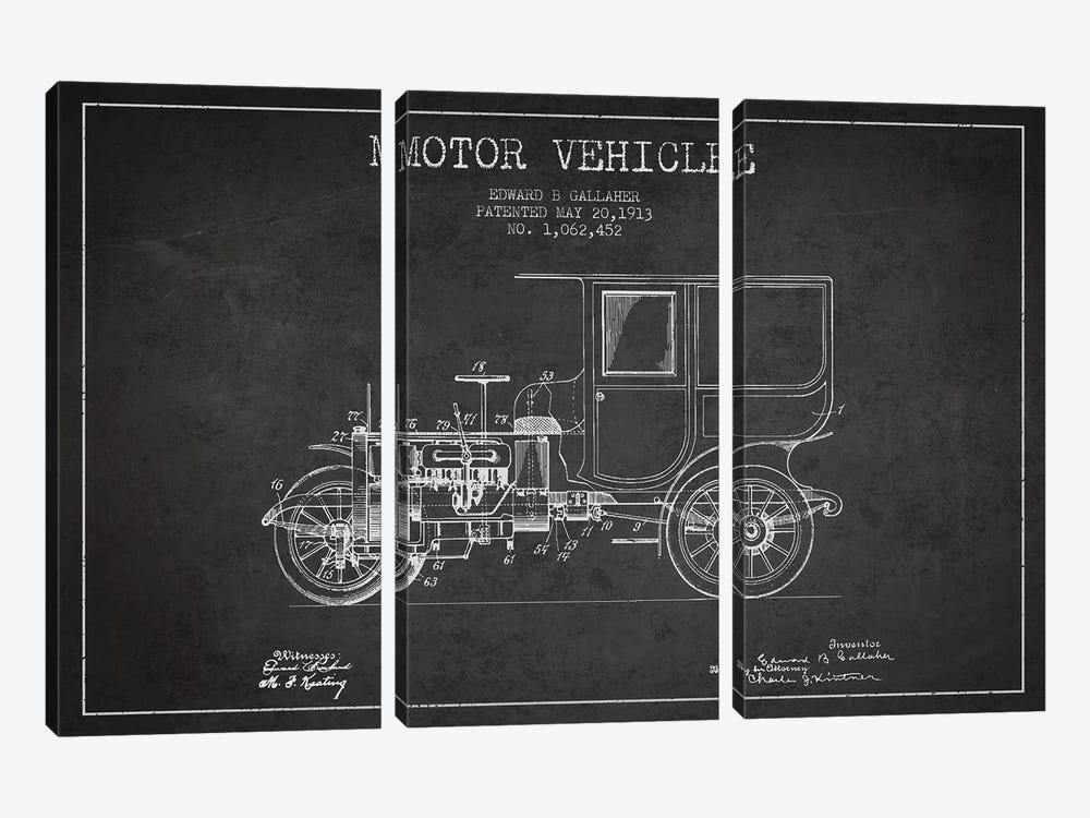 Edward B. Gallaher Motor Vehicle Patent Sketch (Charcoal) by Aged Pixel 3-piece Canvas Wall Art