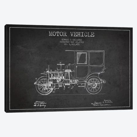 Edward B. Gallaher Motor Vehicle Patent Sketch (Charcoal) Canvas Print #ADP2843} by Aged Pixel Canvas Wall Art
