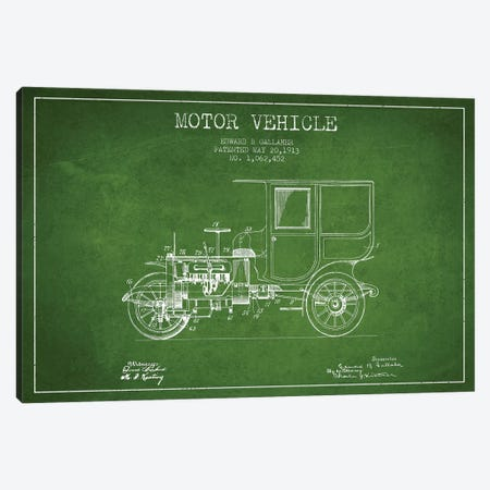 Edward B. Gallaher Motor Vehicle Patent Sketch (Green) Canvas Print #ADP2844} by Aged Pixel Canvas Art Print