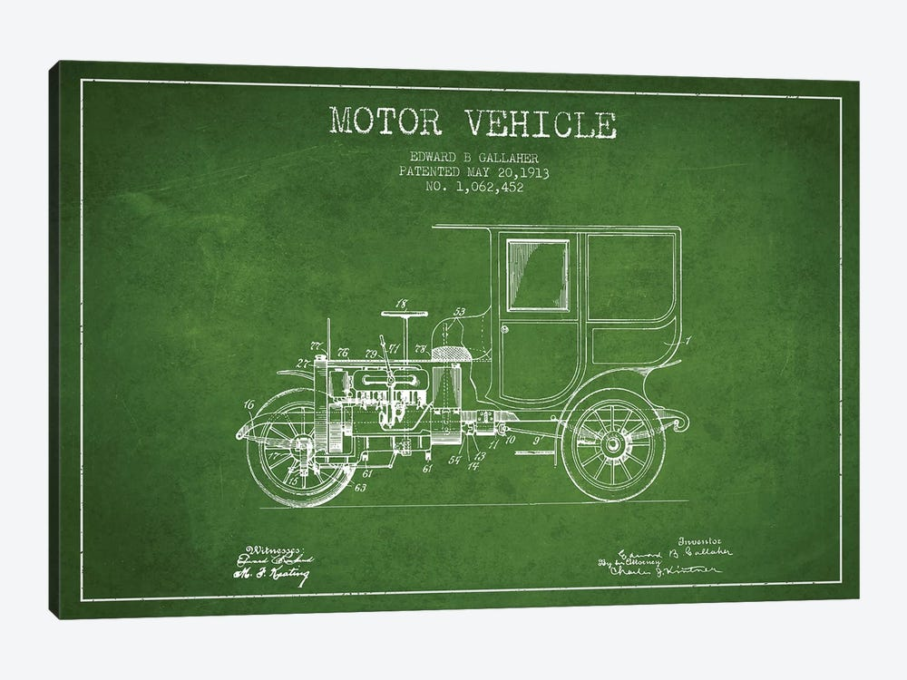 Edward B. Gallaher Motor Vehicle Patent Sketch (Green) by Aged Pixel 1-piece Canvas Art Print