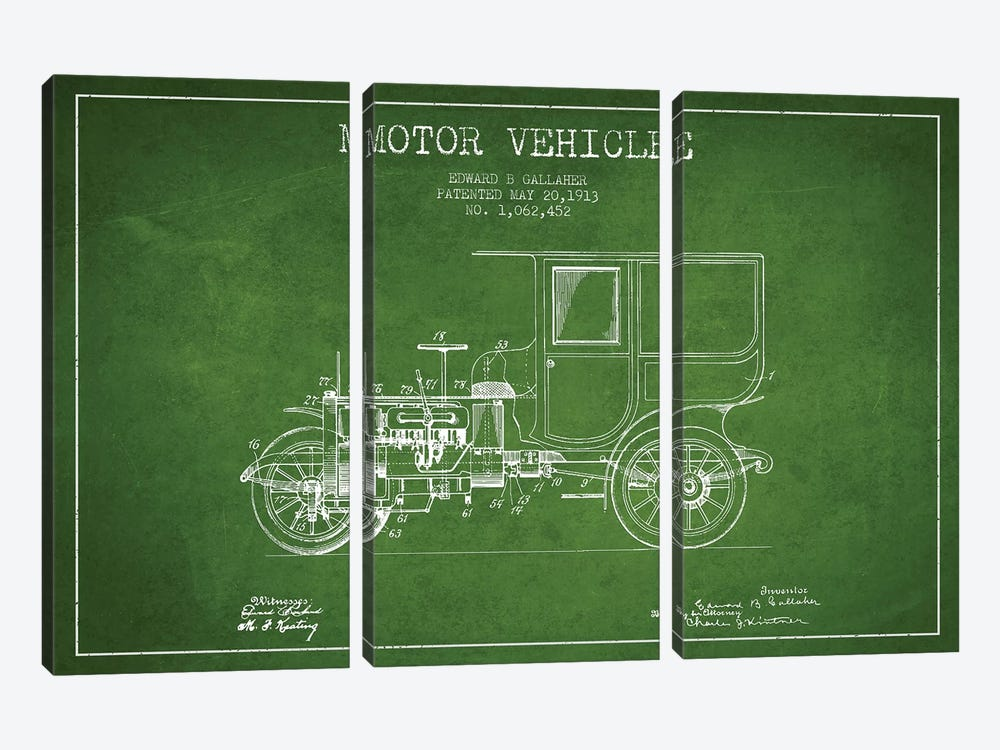Edward B. Gallaher Motor Vehicle Patent Sketch (Green) by Aged Pixel 3-piece Art Print