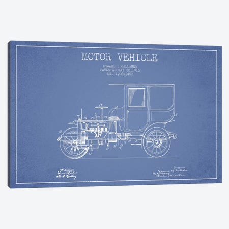 Edward B. Gallaher Motor Vehicle Patent Sketch (Light Blue) Canvas Print #ADP2845} by Aged Pixel Art Print