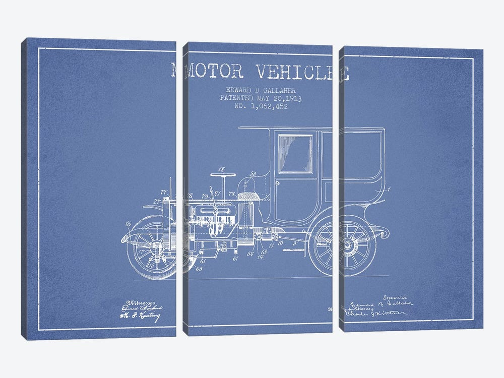 Edward B. Gallaher Motor Vehicle Patent Sketch (Light Blue) by Aged Pixel 3-piece Canvas Artwork