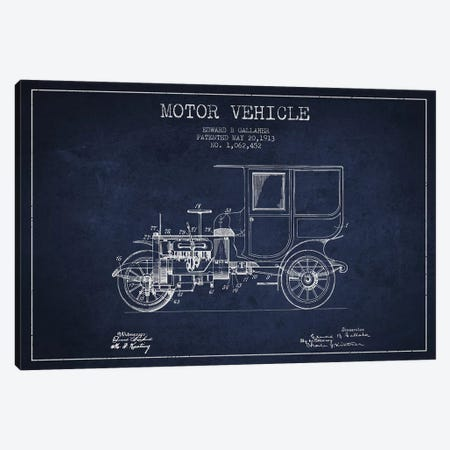 Edward B. Gallaher Motor Vehicle Patent Sketch (Navy Blue) Canvas Print #ADP2846} by Aged Pixel Canvas Art Print