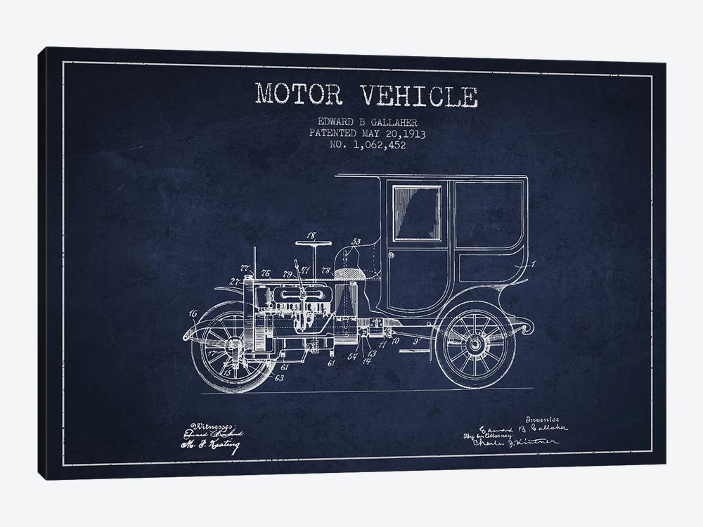 Edward B. Gallaher Motor Vehicle Patent Sketch (Navy Blue) by Aged Pixel 1-piece Canvas Print