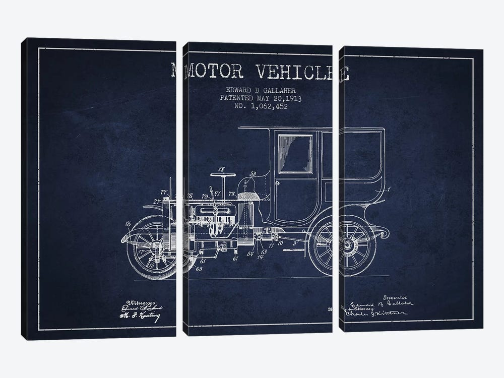 Edward B. Gallaher Motor Vehicle Patent Sketch (Navy Blue) by Aged Pixel 3-piece Canvas Print