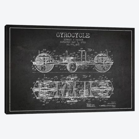 Edward N. Darrow Gyrocycle Patent Sketch (Charcoal) Canvas Print #ADP2848} by Aged Pixel Canvas Wall Art