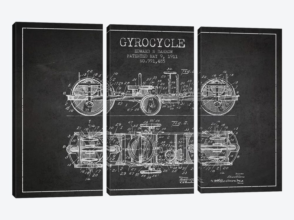 Edward N. Darrow Gyrocycle Patent Sketch (Charcoal) by Aged Pixel 3-piece Art Print