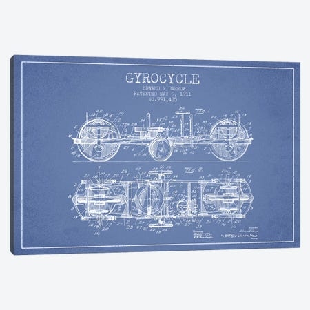 Edward N. Darrow Gyrocycle Patent Sketch (Light Blue) Canvas Print #ADP2849} by Aged Pixel Canvas Art