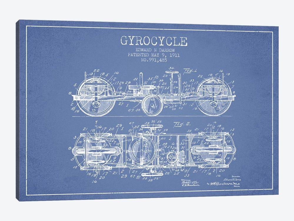Edward N. Darrow Gyrocycle Patent Sketch (Light Blue) by Aged Pixel 1-piece Canvas Artwork