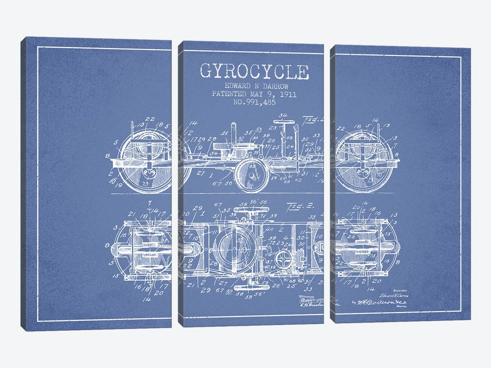 Edward N. Darrow Gyrocycle Patent Sketch (Light Blue) by Aged Pixel 3-piece Canvas Art