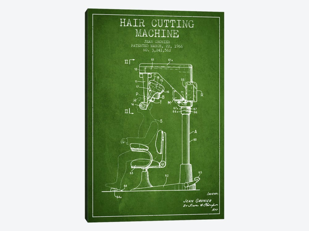 Automatic Heir Cutting Green Patent Blueprint by Aged Pixel 1-piece Canvas Wall Art