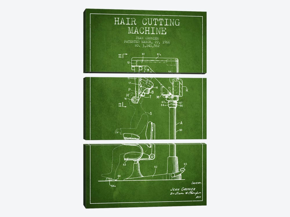 Automatic Heir Cutting Green Patent Blueprint by Aged Pixel 3-piece Canvas Wall Art