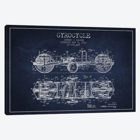 Edward N. Darrow Gyrocycle Patent Sketch (Navy Blue) Canvas Print #ADP2850} by Aged Pixel Art Print