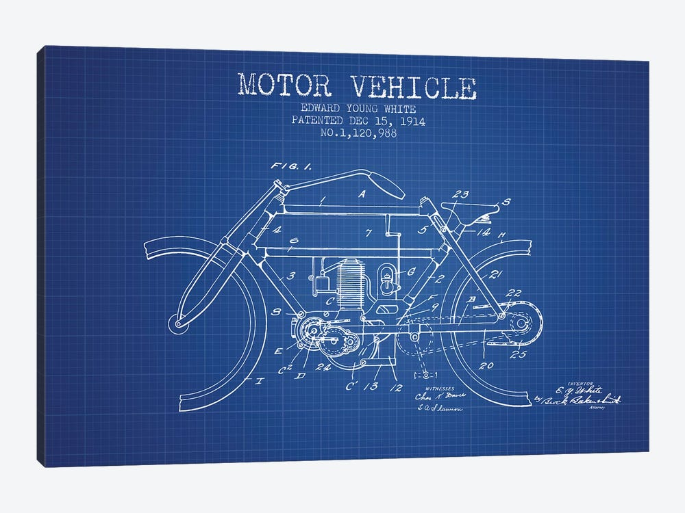 Edward Y. White Motor Vehicle Patent Sketch (Blue Grid) by Aged Pixel 1-piece Canvas Wall Art
