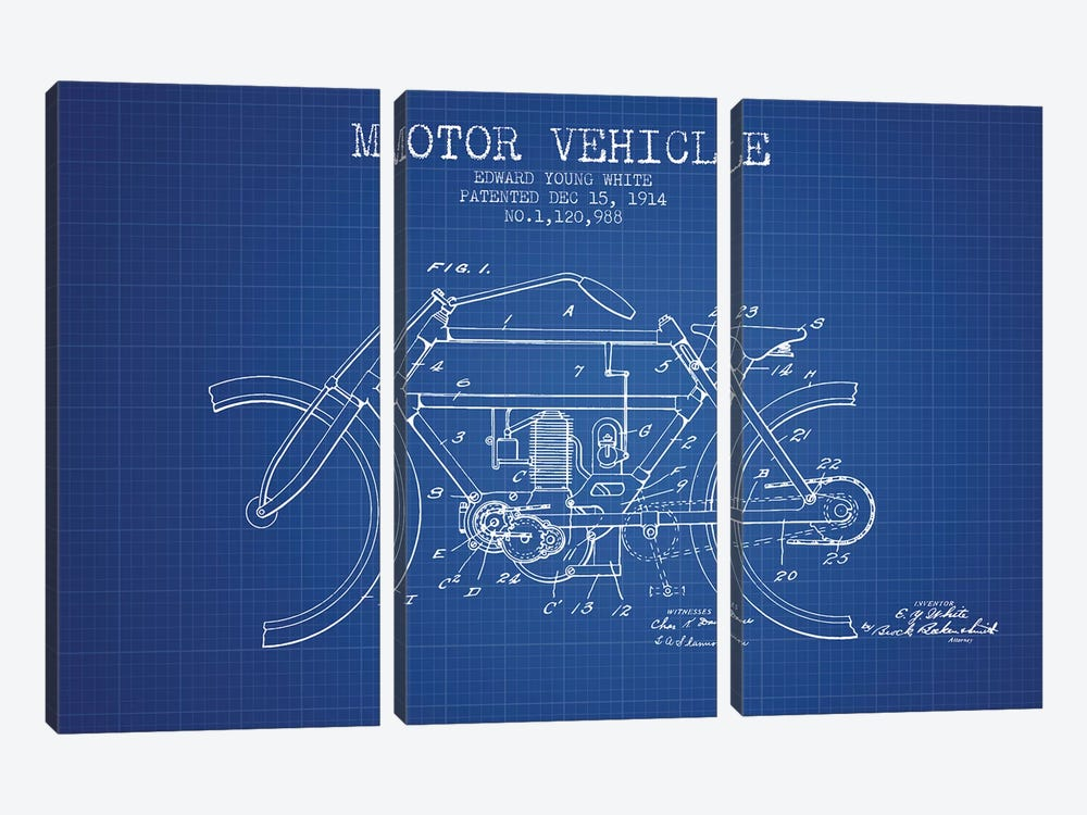 Edward Y. White Motor Vehicle Patent Sketch (Blue Grid) by Aged Pixel 3-piece Canvas Wall Art
