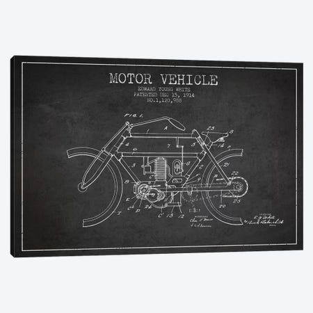 Edward Y. White Motor Vehicle Patent Sketch (Charcoal) Canvas Print #ADP2853} by Aged Pixel Canvas Art Print