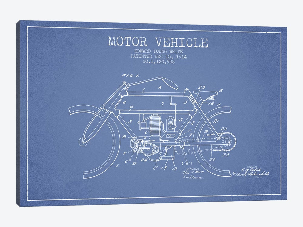 Edward Y. White Motor Vehicle Patent Sketch (Light Blue) by Aged Pixel 1-piece Canvas Artwork