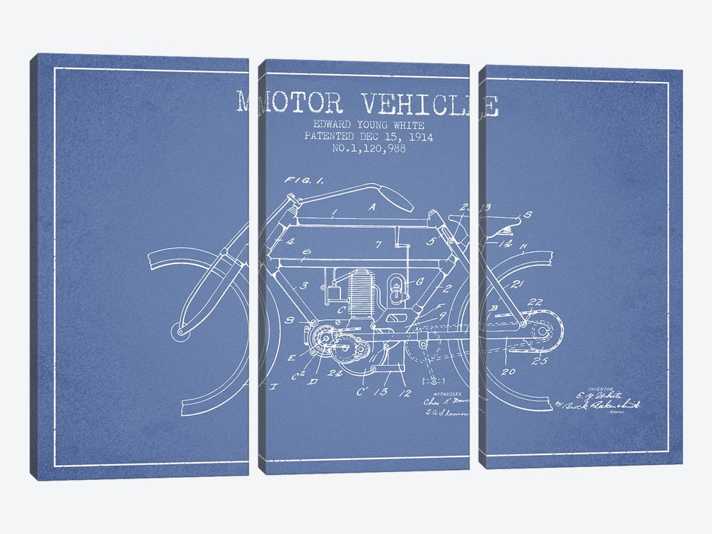 Edward Y. White Motor Vehicle Patent Sketch (Light Blue) by Aged Pixel 3-piece Canvas Art