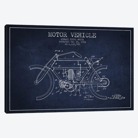 Edward Y. White Motor Vehicle Patent Sketch (Navy Blue) Canvas Print #ADP2855} by Aged Pixel Canvas Artwork